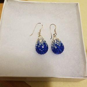 Blue & white crystal earrings in sterling silver